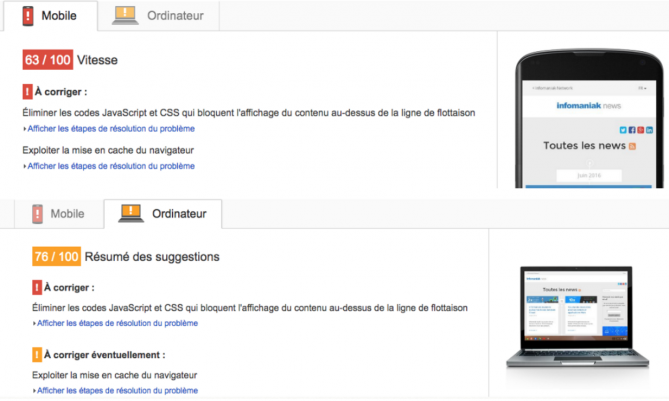 Résultat de Google Page Speed avant l'optimisation