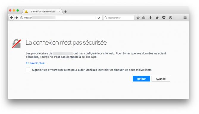 Firefox-Hinweis auf nicht gesicherte Website