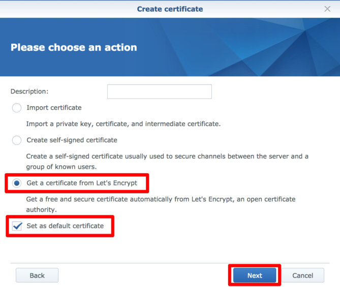 Installing an SSL Let's Encrypt certificate on a Synology