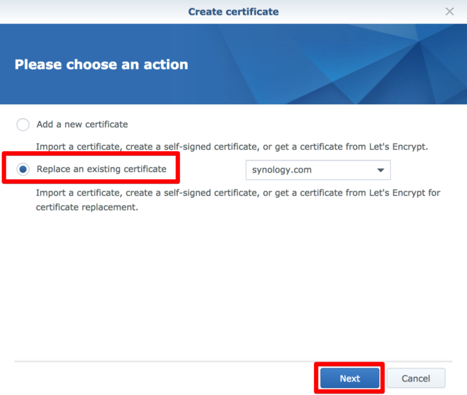 Installing an SSL Let's Encrypt certificate on a Synology NAS